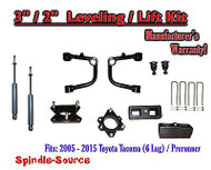 "2005 - 2016 Toyota Tacoma 3"" / 2"" Lift Kit + TUBULAR Upper Arms UCA + SHOCKS"