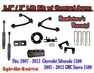 "2007 - 13 Chevy Silverado GMC Sierra 1500 2.5"" / 2"" CONTROL ARM LIFT KIT SHOCKS"
