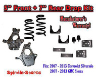 "2007 - 13 Chevrolet Silverado / GMC Sierra 1500 V8 5"" / 7"" Lowering Drop kit"