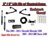 "2007 - 13 Chevy Silverado GMC Sierra 1500 2"" / 2"" CONTROL ARM LIFT KIT + SHOCKS"