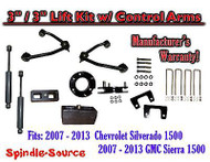 "2007 - 13 Chevy Silverado GMC Sierra 1500 3"" / 3"" CONTROL ARM LIFT KIT + SHOCKS"