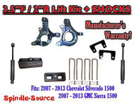 "2007 - 13 Chevy Silverado GMC Sierra 1500 3.5"" / 2"" Spindle LIFT KIT + SHOCKS"