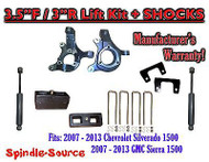 "2007 - 13 Chevy Silverado GMC Sierra 1500 3.5"" / 3"" Spindle LIFT KIT + SHOCKS"