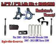 "2007 - 13 Chevy Silverado GMC Sierra 1500 3.5"" / 3"" Spindle LIFT KIT + SHOCKS"
