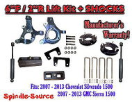 "2007 - 13 Chevy Silverado GMC Sierra 1500 6"" / 2"" Spindle FULL LIFT KIT + SHOCKS"