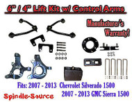 "2007 - 13 Chevy Silverado GMC Sierra 1500 6"" / 4"" Spindle Lift KIT Control Arms"