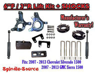 "2007 - 13 Chevy Silverado GMC Sierra 1500 6"" / 3"" Spindle FULL LIFT KIT + SHOCKS"
