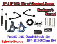"2007 - 13 Chevy Silverado GMC Sierra 5"" / 3"" Spindle Lift Control Arms Shocks"