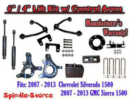 "2007 - 13 Chevy Silverado GMC Sierra 6"" / 4"" Spindle Lift Control Arms + SHOCKS"