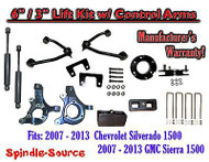 "2007 - 13 Chevy Silverado GMC Sierra 6"" / 3"" Spindle Lift Control Arms + SHOCKS"