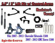 "2007 - 13 Chevy Silverado GMC Sierra 5.5"" / 2"" Spindle Lift Control Arms SHOCKS"