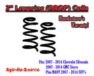 "2007 - 14 Chevrolet GMC Cadillac 1500 Truck SUV Front 3"" Drop Lowering Coils V6"