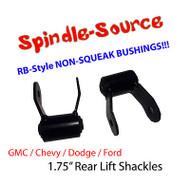 """2007 - 13 Chevy Silverado Sierra 1.75"""" REAR Lift Shackles SET RB Style Bushings"""