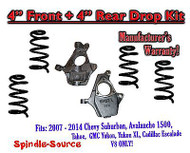 """2007 - 14 Drop Lowering Kit Chevrolet GMC 1500 SUV's 4"""" Front / 4"""" Rear V8 ONLY"""