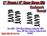 "2007 - 14 Drop Lowering Kit Chevrolet GMC 1500 SUV's 1"" Front / 4"" Rear V6 ONLY"