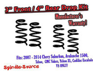 "2007 - 14 Drop Lowering Kit Chevrolet GMC 1500 SUV's 3"" Front / 4"" Rear V8 ONLY"