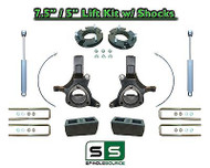 "2007 - 17 Chevy Silverado GMC Sierra 1500 7.5"" / 5"" Spindle LIFT KIT 2WD SHOCKS"