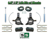 "2007 - 17 Chevy Silverado GMC Sierra 1500 6.5"" / 5"" Spindle LIFT KIT 2WD SHOCKS"