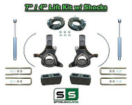 "2007 - 17 Chevy Silverado GMC Sierra 1500 7"" / 4"" Spindle LIFT KIT 2WD SHOCKS"