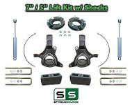 "2007 - 17 Chevy Silverado GMC Sierra 1500 7"" / 5"" Spindle LIFT KIT 2WD SHOCKS"