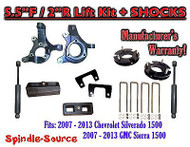 "2007 - 2013 Chevy Silverado GMC Sierra 1500 5.5"" / 2"" Spindle LIFT KIT + SHOCKS"