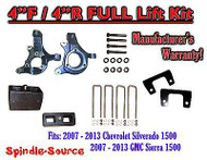 "2007 - 2013 Chevy Silverado GMC Sierra 1500 4"" inch / 4"" Spindle LIFT KIT 2WD"