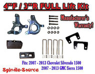 "2007 - 2013 Chevy Silverado GMC Sierra 1500 4"" inch / 3"" Spindle LIFT KIT 2WD"