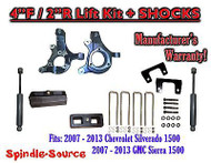 "2007 - 2013 Chevy Silverado GMC Sierra 1500 4"" / 2"" Spindle LIFT KIT + SHOCKS"
