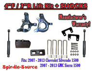 "2007 - 2013 Chevy Silverado GMC Sierra 1500 4"" / 3"" Spindle LIFT KIT + SHOCKS"