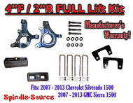 "2007 - 2013 Chevy Silverado GMC Sierra 1500 4"" inch / 2"" Spindle LIFT KIT 2WD"