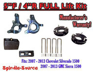 "2007 - 2013 Chevy Silverado GMC Sierra 1500 5"" inch / 4"" Spindle LIFT KIT 2WD"