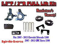 "2007 - 2013 Chevy Silverado GMC Sierra 1500 5.5"" / 3"" Spindle LIFT KIT 2WD"