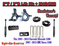 "2007 - 2013 Chevy Silverado GMC Sierra 1500 5"" / 2"" Spindle LIFT KIT + SHOCKS"