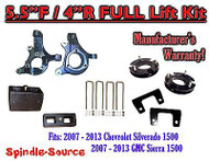 "2007 - 2013 Chevy Silverado GMC Sierra 1500 5.5"" / 4"" Spindle LIFT KIT 2WD"