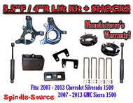 "2007 - 2013 Chevy Silverado GMC Sierra 1500 5.5"" / 4"" Spindle LIFT KIT + SHOCKS"