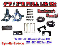 "2007 - 2013 Chevy Silverado GMC Sierra 1500 6"" / 2"" Spindle FULL LIFT KIT 2WD"