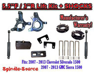 "2007 - 2013 Chevy Silverado GMC Sierra 1500 5.5"" / 3"" Spindle LIFT KIT + SHOCKS"