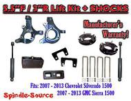 "2007 - 2013 Chevy Silverado GMC Sierra 1500 5.5"" / 3"" Spindle LIFT KIT + SHOCKS"