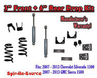 "2007 - 2013 Chevy Silverado GMC Sierra 1500 V8 3"" / 6"" Drop Lowering Kit SHOCKS"