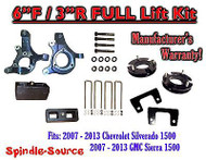 "2007 - 2013 Chevy Silverado GMC Sierra 1500 6"" / 3"" Spindle FULL LIFT KIT 2WD"