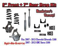 "2007 - 2013 Chevy Silverado GMC Sierra 1500 V8 5"" / 7"" Drop Lowering Kit SHOCKS"