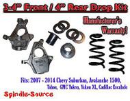 "2007 - 2014 Drop Lowering Kit Chevrolet GMC 1500 SUV's 3""-4"" Front / 4"" Rear"