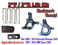 "2007 - 2014 Silverado Sierra 1500 3"" LIFT Spindles AND 3"" Rear Blocks 3""/3"" KIT"