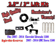 "2007 - 2014 Silverado GMC Sierra 1500 2.5"" Front 3"" Rear FULL Lift Kit 2.5""/3"""