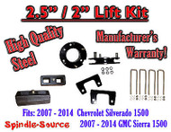 "2007 - 2014 Silverado GMC Sierra 1500 2.5"" Front 2"" Rear FULL Lift Kit 2.5""/2"""