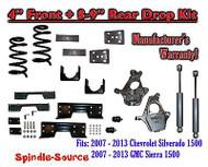 "2007 -13 Chevy Silverado / GMC Sierra 1500 4"" / 8 - 9"" Drop Kit SHOCKS C-NOTCH"