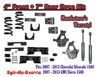 "2007 -13 Chevy Silverado / GMC Sierra 1500 4"" / 7"" Drop Lower Kit SHOCKS C-NOTCH"