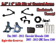 "2007 -13 Chevy Silverado GMC Sierra 1500 5.5"" / 4"" Spindle Lift KIT Control Arms"