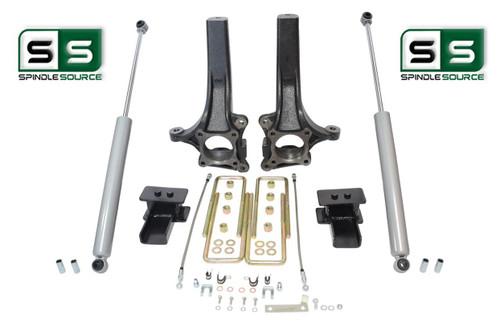 """2009 - 2014 Ford F-150 4"""" / 3"""" Lift Spindle Knuckle Blocks U-bolt Kit + SHOCKS"""