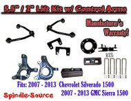 "2007 -13 Chevy Silverado GMC Sierra 1500 5.5"" / 2"" Spindle Lift KIT Control Arms"